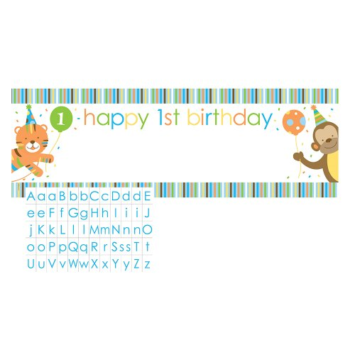 Creative Converting Sweet at One Boys Giant Party Banner with Customizable Stickers - 1