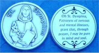 St. Dymphna Pocket Coin Token, Finely Engraved