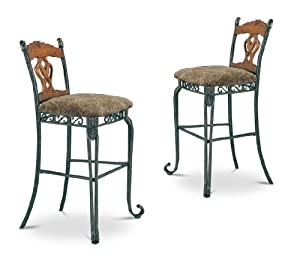 "Set of 2 Metal and Wood Padded Bar Stools 30"" Seat Height"