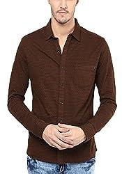 Mufti Mens Brown Slim Fit Shirt
