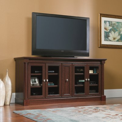 """Traditional Sauder Palladia 70"""" TV Stand with 4 Adjustable Shelves, Credenza for up to 80"""" TVs Comes in Cherry Finish"""