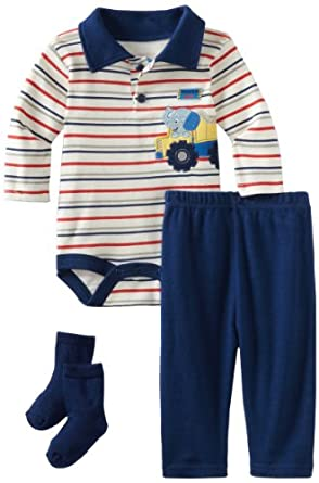 Bon Bebe Baby-boys Newborn Tough Guy 3 Piece Pant Set, Navy/Cream, 0-3 Months