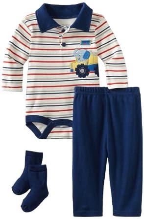 Bon Bebe Baby-boys Newborn Tough Guy 3 Piece Pant Set, Navy/Cream, 0-3 Months