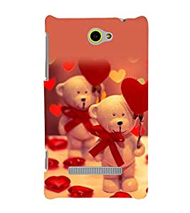 printtech Cute Teddy Heart Ribbon Back Case Cover for HTC Windows Phone 8S