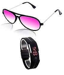 MagJons Pink Yuva Aviator Sunglasses With Digital Slim Watch