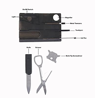 Guardian Accessories 14 in 1 Credit Card Pocket Survival Tool Kit with LED Light. Includes Finger Knife with Bottle Opener [ 2 Multitools ] from Guardian Accessories