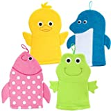 Terrycloth Animal Puppet Bath Mitts Washcloths - Duck, Dolphin, Fish, Frog