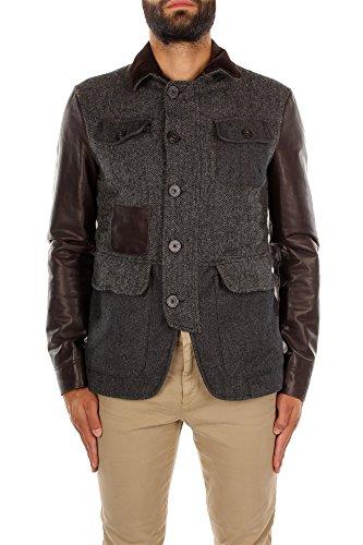 Dsquared Giacca in lana grigia e pelle marrone, taglia L