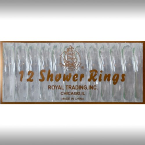 CLEAR 12-Piece Plastic Shower Curtain Rings. Snap-lock.