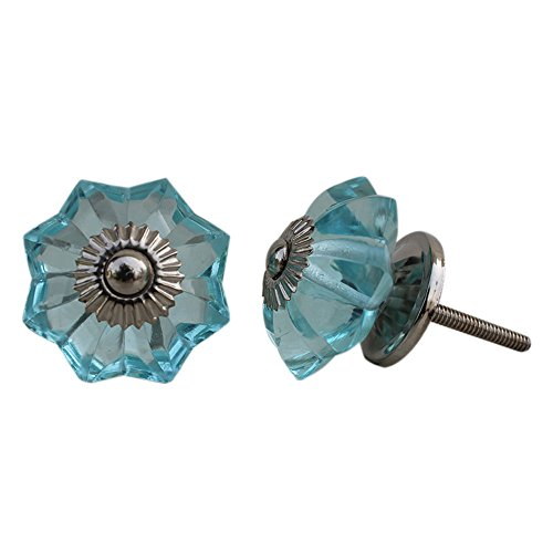 Set of 10 Handmade Glass Drawer Knobs Silver Vintage Designer Flower Shape Turquoise Drawer Cabinet Pull Furniture Handle IndianShelf Online New Handles (Dresser Knobs Turquoise compare prices)