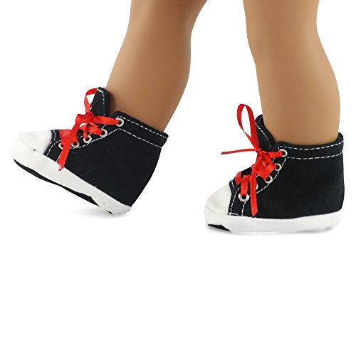 18 Inch Doll Clothes/clothing Black High Top Sneakers Fits American Girl Dolls - 1