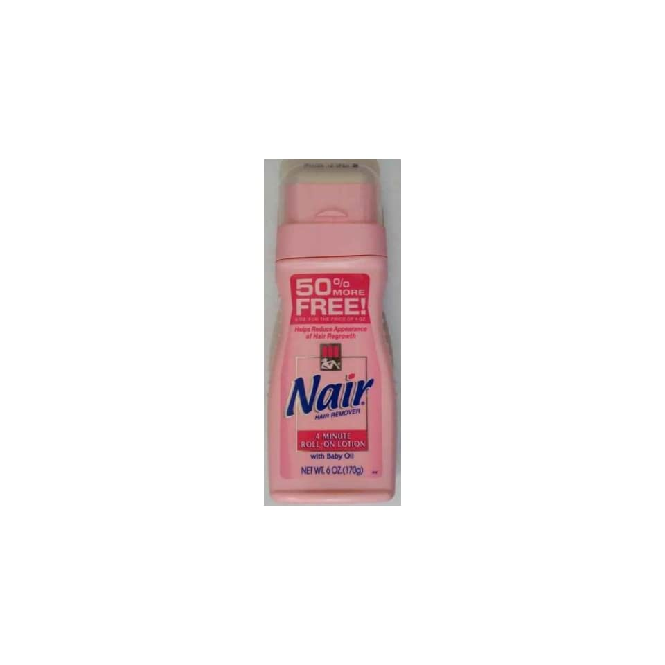 Nair Hair Remover 4 Minute Roll on Lotion with Baby Oil 6 Oz