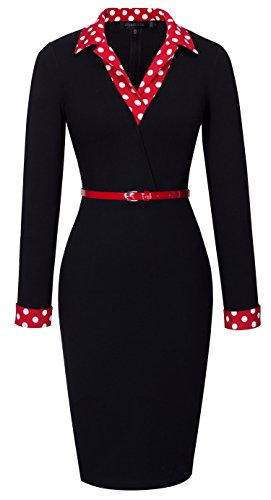 HOMEYEE Women's 1950s Vintage Turn Down Collar Black Pencil Business Dress B334