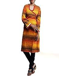 Unnati Silks Women Pracheen kala Multicolor Pochampally cotton ikkat woven Anarkali kurta