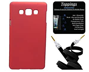 Toppings Hard Case Cover With Aux Cable & Tempered Glass For Samsung Galaxy A3 - Red