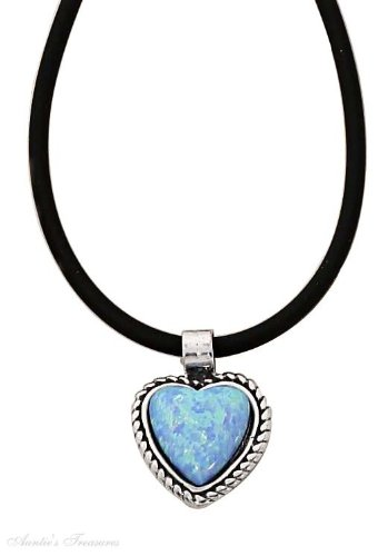 Sterling Silver Imitation Blue Opal Heart Pendant Rubber Cord Choker Necklace