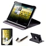 kwmobile® 3in1 Premium Kunstledertasche 360° drehbar für Acer Iconia A200/ A210/A211 in Schwarz + hochwertige Displayschutzfolie + 2in1 Stylus