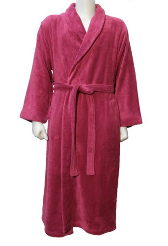 Simplicity 12 Luxurious Spa Bath Robes In Comfy Plush, Pockets, Wine