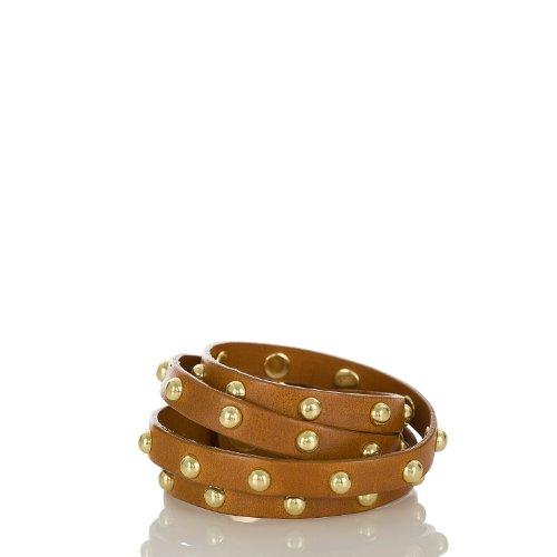 Stud Wrap Bracelet<br>Jewelry Tobacco Vachetta