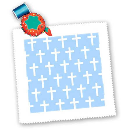 Qs_185486_1 Inspirationzstore Christian Designs - Baby Blue Christian Cross Pattern - White Religious Crucifix Crosses - Quilt Squares - 10X10 Inch Quilt Square front-235513