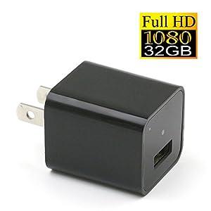 YYCAM 1080P HD USB Wall Charger Hidden Spy Camera / Nanny Spy Camera Adapter | 32GB Internal Memory from YYCAM