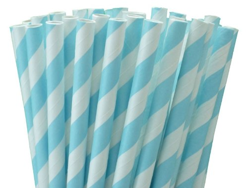 25 Paper Drinking Straws Baby Blue