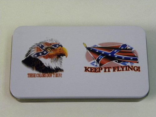 "Pocket Knife With A Tin Box "" These Colors Don'T Run ! "" "" Keep It Flying "" Pk37-Ffe"