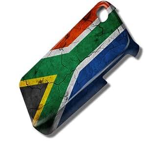 Drapeaux Afrique du Sud 1, Carte du Monde, 3D Design Coque Arriere Rigide Coquille Housse Case Cover Couverture avec Dessin Coloré pour Apple iPhone 4 4S.