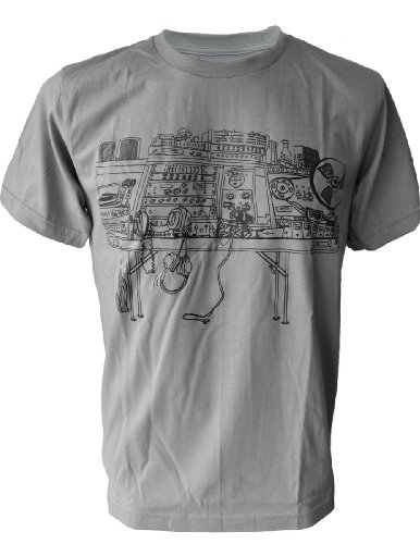 SODAtees mess chaos radio station music DJ table turntable Men's T-SHIRT - Grey - Large