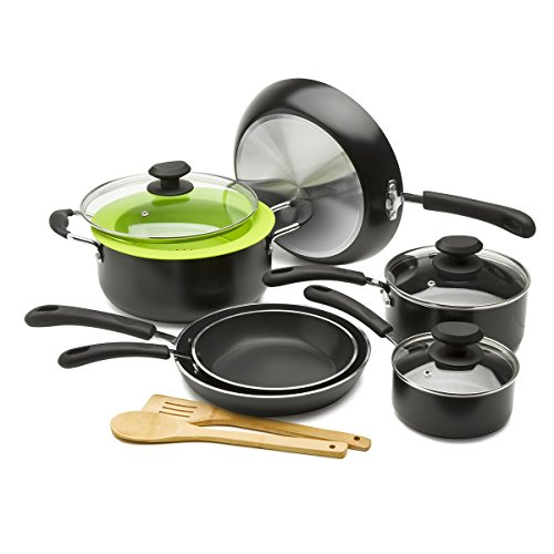 Ecolution Heavy Weight Non-Stick 12-Piece Cookware Set 5 Qt. Dutch Oven with Steam Vented Glass Lid, Silicone Steamer, and 2 Bamboo Tools (Ecolution Pan Set compare prices)