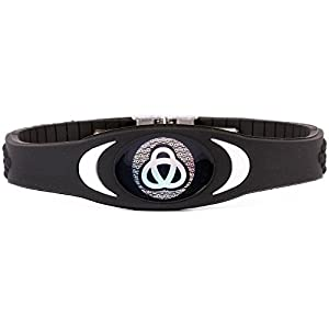 Ion Bracelet By Infinity Pro - Ion Core Band 4000+ Negative Ions for Sleep, Energy, Balance, Golf, Sport. Men / Women. Tourmaline Health Wristband (Black/white)