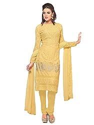 Meet Enterprise Online Light Yellow Chiffon Embroidery Dress Material