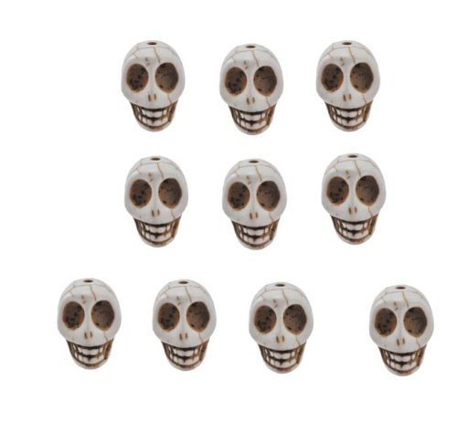 White Magnesite Dyed Gemstone Beads Carved Skull Beads, 14 X 10mm (10 Per Set)