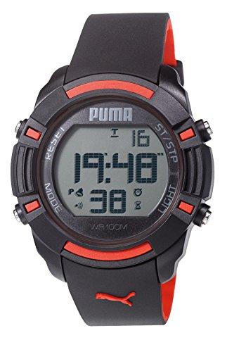 Puma Bytes Orologio digitale Unisex, con Display LCD digitale e cinturino PU911221001 ecopelle, colore: nero