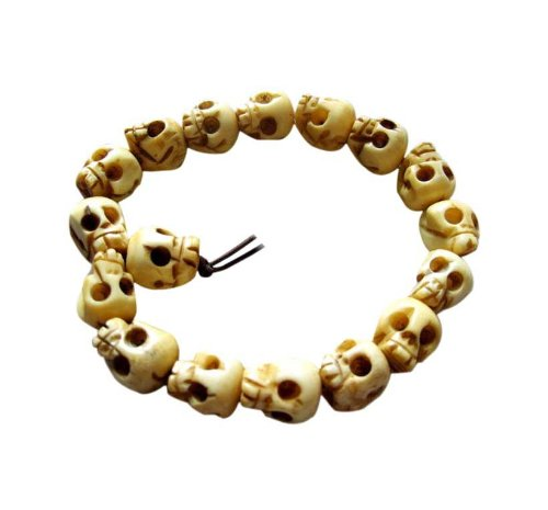 10mm Ox Bone Skull Beads Tibetan Buddhist Prayer Meditation Wrist Mala Bracelet