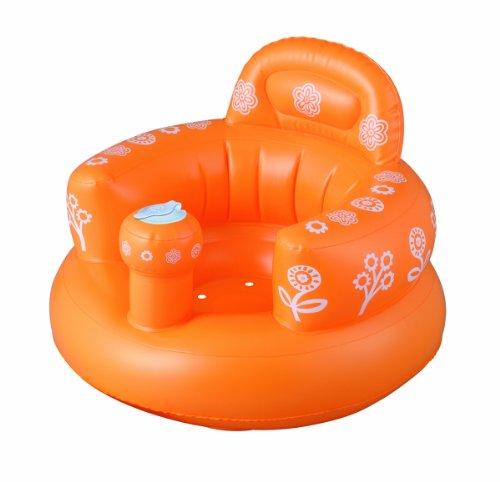 Smart Start おすわりしたまま洗って流せる バスソファ ポンプアップ オレンジ