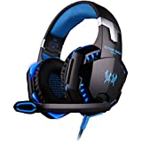 [2015 New Version] BMOUO® Comfortable LED 3.5mm Stereo Gaming LED Lighting Over-Ear Headphone Headset Headband with Mic for PC Computer Game With Noise Cancelling & Volume Control, Blue