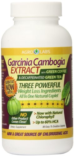 Agro Labs Garcinia Cambogia With Green Coffee And Decaffeinated Green Tea Caplets, 90 Count