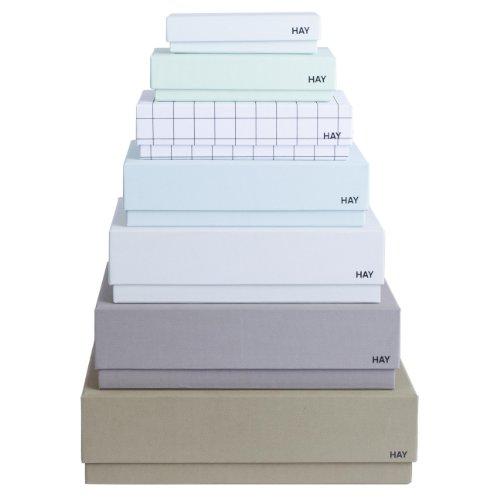 HAY Box Box Desktop Aufbewahrungsboxen Set 7 Stück, grün/grau/hellgrau/türkis/kariert/hellgrün/mint//7 verschiedene Größen
