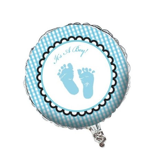 Creative Converting Sweet Baby Feet Blue Two Sided Mylar Foil Balloon, 18""