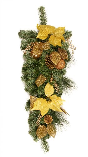 """30"""" Pre-Decorated Gold Poinsettia, Apple and Berry Artificial Christmas Teardrop Swag - Unlit"""