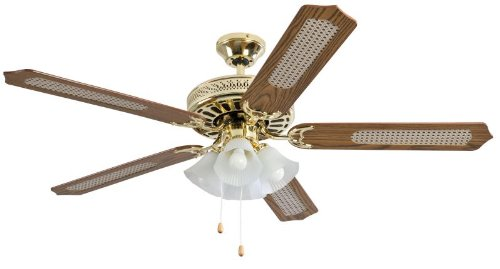 Bimar VSL10 Ventilatore da soffitto con luce Corpo in metallo ottonato 5 pale in MDF reversibili lato liscio e lato paglia di vienna