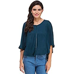 Rigo Bottle Green Viscose Poncho Shrug