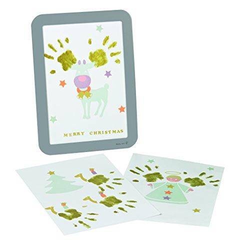 Baby Art 34120149 Happy Frame Cornice a Tema Natalizio Personalizzabile con Le Impronte del Tuo Bambino, Grigio