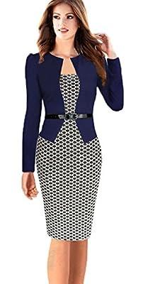 Babyonline Women Colorblock Wear to Work Business Party Bodycon One-piece Dress