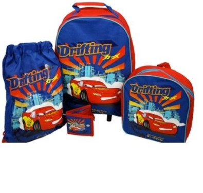 Disney Cars 4 Pce Luggage Set Inc. Wheeled Bag backpack by Trademark Collections