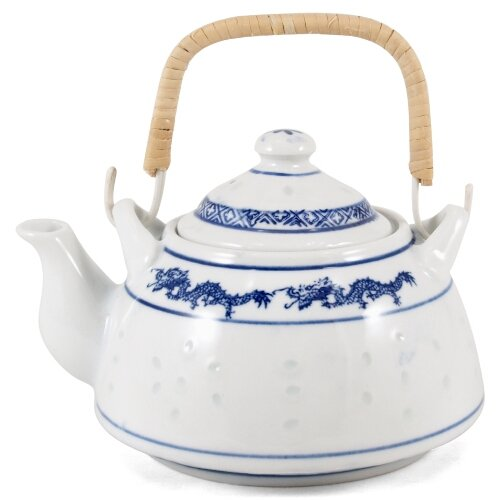 White Porcelain Blue Dragon Teapot 25 Ounce