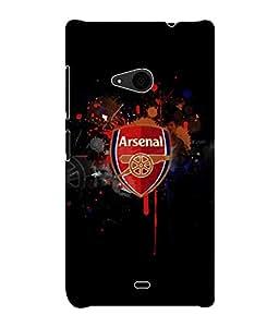 Fuson 3D Printed Arsenal Logo Designer Back Case Cover for Microsoft Lumia 535 - D804