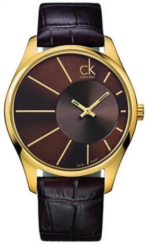 Calvin Klein Deluxe Brown Leather Mens Watch K0S21603