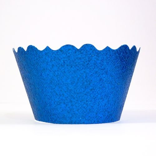 Bella Cupcake Couture 633131980271 Glitter Cupcake Wrappers, Royal Blue, Set Of 12 front-222484